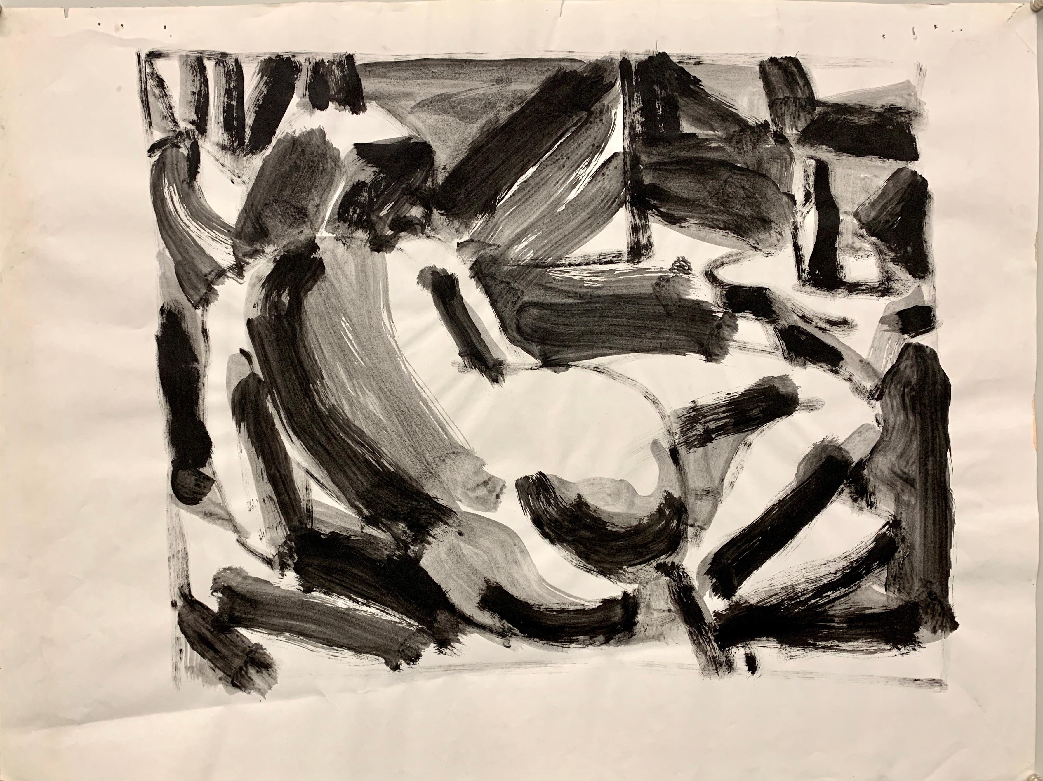 """Backside View"" 1950s Modern Art Gouache Figure Painting"
