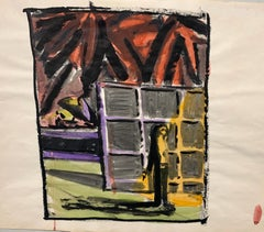 """Figure in Shadow"" Gouache Interior  Mid Century  1950s Fauvist Painting"
