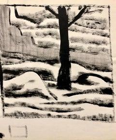 """Mound Street"" 1950s Modern Art Gouache Landscape Painting MOMA"