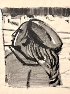"""Parisian Woman"" 1950s Modern Art Gouache Painting MOMA"