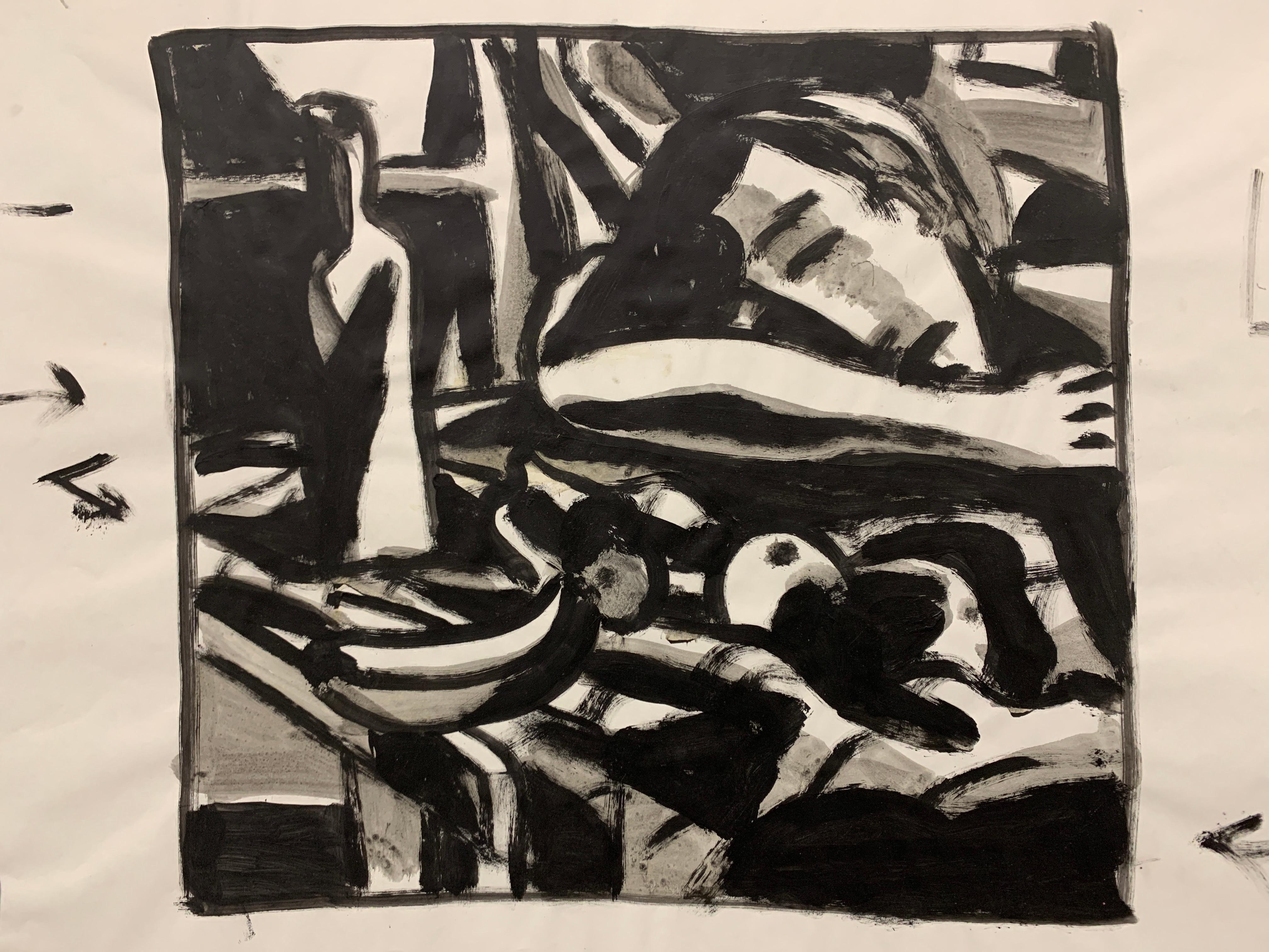 """Sleeping with Fruit"" 1950s Modern Art Gouache Figure Painting MOMA"