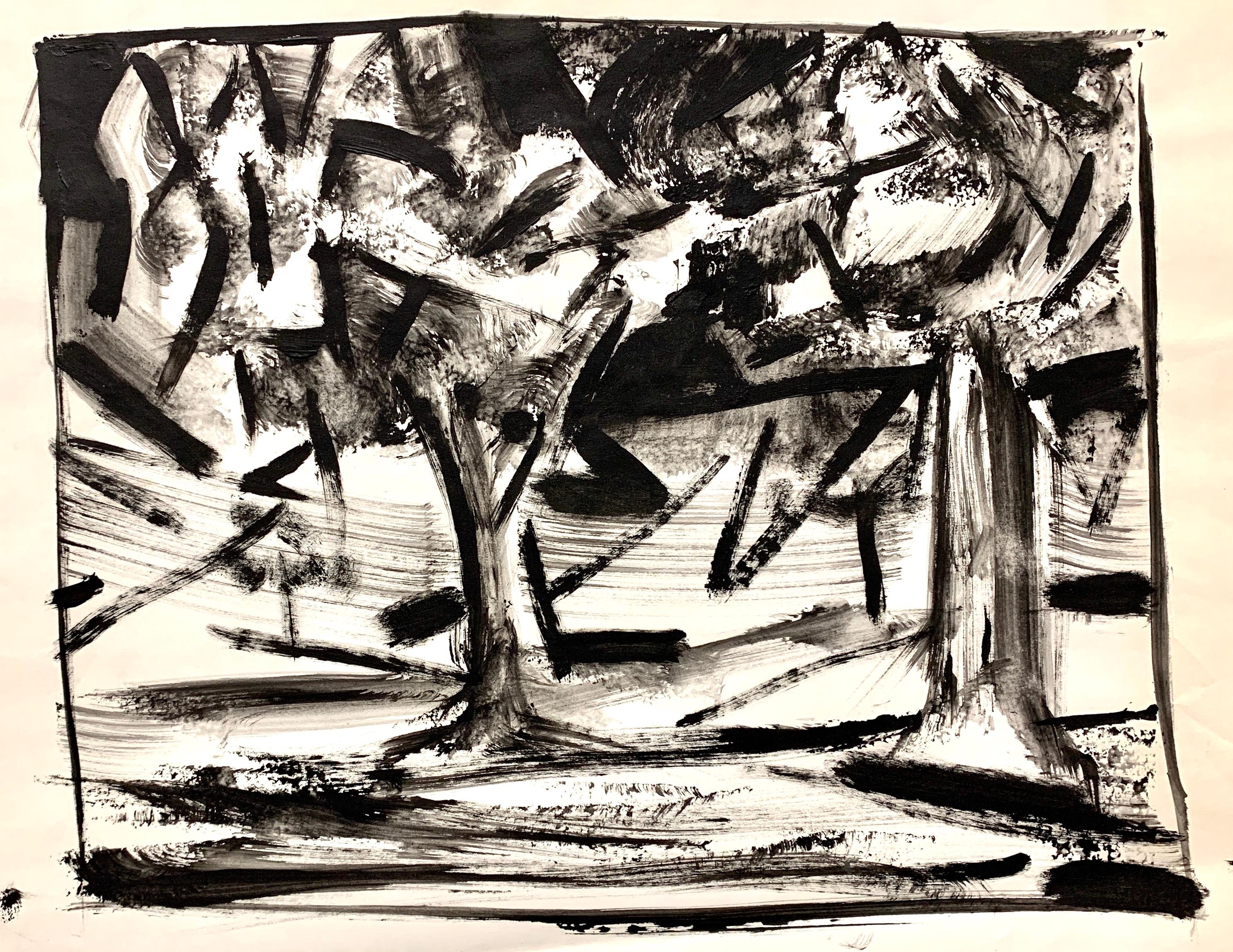 """""""Two Trees"""" 1950s Modern Art Painting The Arts Students League NYC"""
