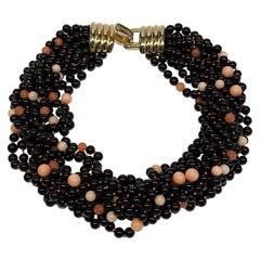 Donald Stannard 10 Strand Black Glass & Rose Quartz Bead Necklace