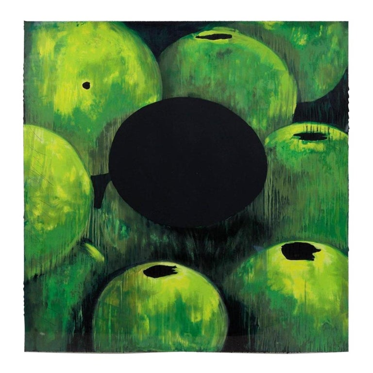 Donald Sultan, Green Apples and Egg, Screen Print Depicting, PP. 10/10 For Sale