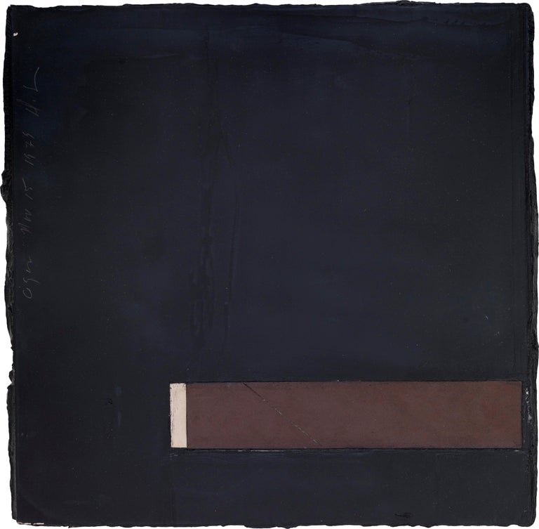 DONALD SULTAN   Born 1951   Cigar, 15 November 1979 Tar, tile and masonite on wood 12 x 12 inches   Donald Sultan is an acclaimed American painter known for his large-scale paintings produced using a range of industrial and non-art materials,