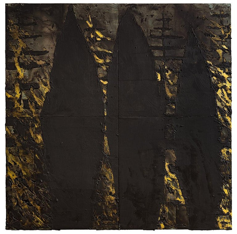 DONALD SULTAN  Born 1951   Forest Fire, 14 May 1985 Tar, spackle and latex on tile over masonite 96 x 96 inches    Donald Sultan is an acclaimed American painter known for his large-scale paintings produced using a range of industrial and non-art