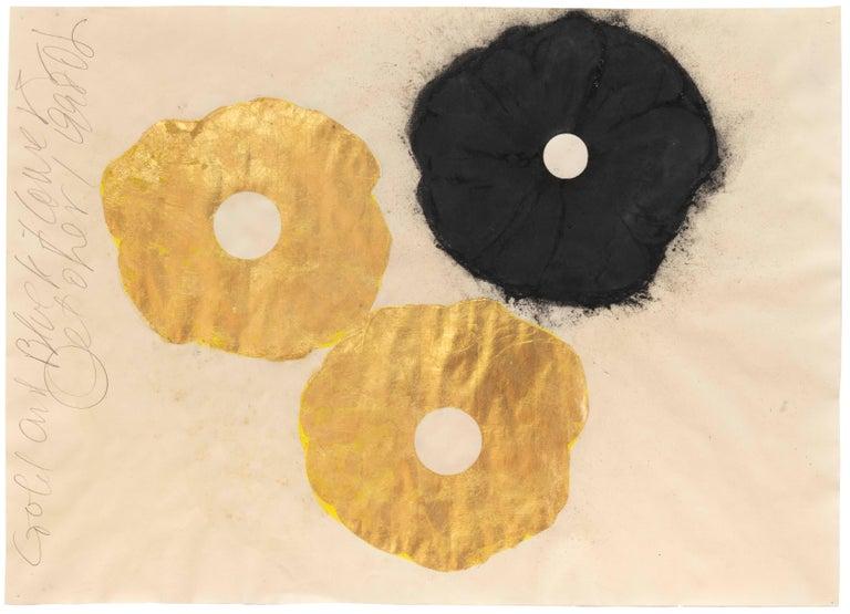 Gold and Black Flower, 1 September 1998 - Donald Sultan (Mixed Media) - Mixed Media Art by Donald Sultan