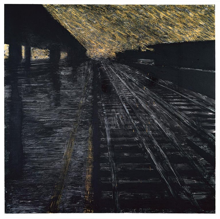 DONALD SULTAN   Born 1951   Herndon Railway, 18 August 1988 Latex and tar on canvas 96 x 96 inches  Donald Sultan is an acclaimed American painter known for his large-scale paintings produced using a range of industrial and non-art materials,