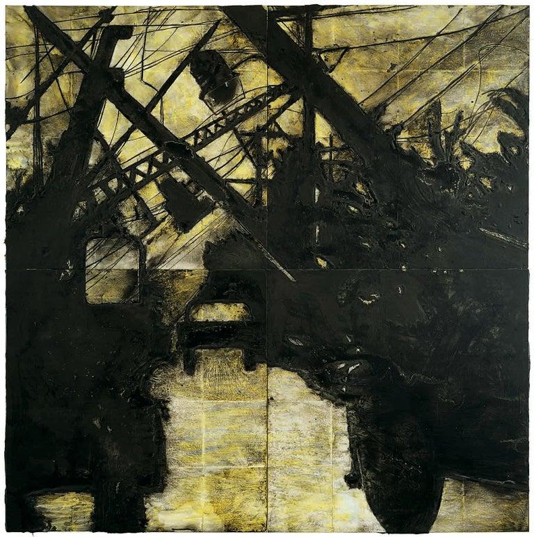 Lines Down, 11 November 1985 - Donald Sultan (Mixed Media) - Mixed Media Art by Donald Sultan