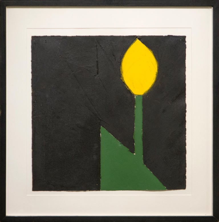 Yellow Tulip #18 - Painting by Donald Sultan