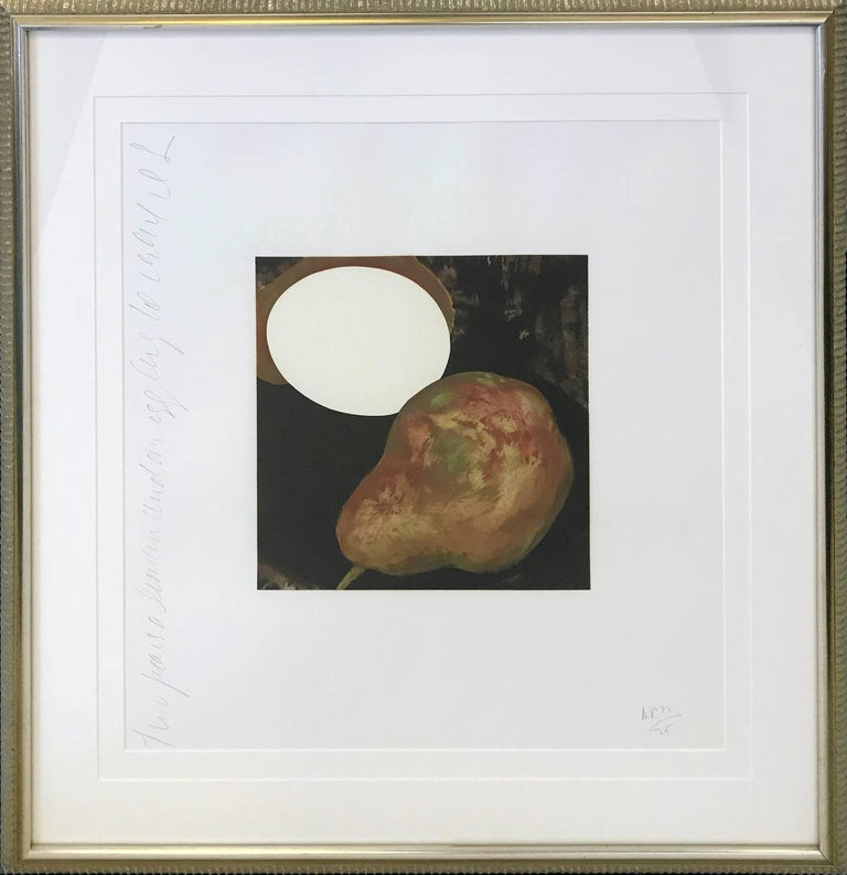 Donald Sultan Figurative Print - 2 PEARS, A LEMON, AND AN EGG