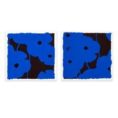 Blues, Set of Two Silkscreens, Flower Still-Life, Contemporary Art, Pop Art