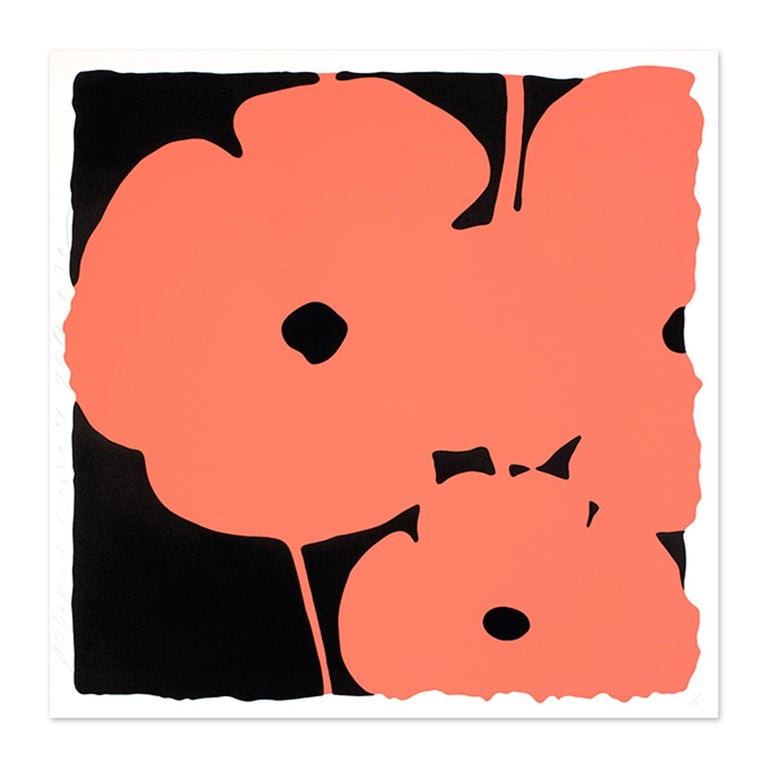 Donald Sultan (American, born 1951) Coral Poppies, 2011 Medium: Color silkscreen with enamel inks, flocking, and tar-like texture on museum board Dimensions: 39 x 39 inches (99 x 99 cm) Edition of 30: Hand signed and numbered Condition: Mint