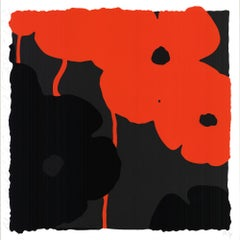 "Donald Sultan-Red & Black Poppies II-24"" x 24""-Serigraph-2007-Contemporary-Black"