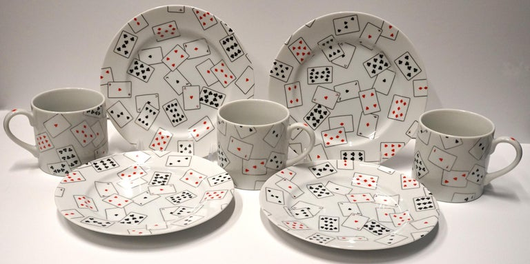 Donald Sultan Interior Print - GAME SET CARDS I - plates and mugs set