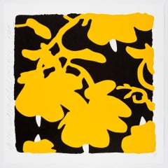 Lantern Flowers (Yellow and Black)with over-printed flocking on Rising, 2-ply mu
