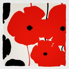 Red and Black Poppies, 2019, Color silkscreen with flocking