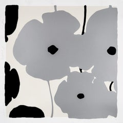 Silver and Black Poppies, 2019, Color silkscreen with flocking