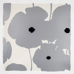 Silver Poppies, 2018, Color silkscreen, enamel inks and flocking