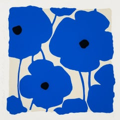 Three Poppies (Blue), by Donald Sultan