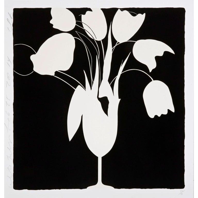 Donald Sultan Figurative Print - White Tulips and Vase, Feb 25 - Contemporary, 21st Century, Silkscreen, Tulips