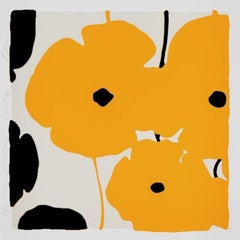 Yellow and Black Poppies, 2019, Color silkscreen with flocking