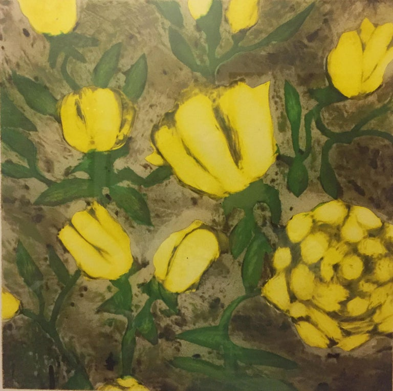Donald Sultan Yellow Roses, April from Fruit and Flowers II, 1992 Color Screenprint Signed in Pencil, DS and 34/100 Printed by Watanabe Studio, Brooklyn Published by Parasol Press, Ltd, NY  ex. Joel and John Weinstock Coll.  Framed and ready to hang