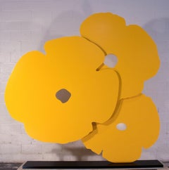 Big Yellow Poppies Sculpture 3/4 inch (1.9 cm) thick painted aluminum, 72x72 in.