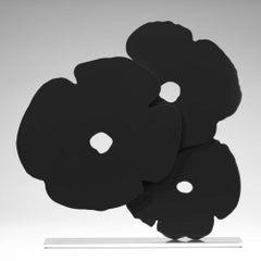 Black Poppies Sculpture, 2017, Shaped aluminum with black powder coat on polishe