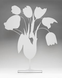 White Tulips and Vase, Donald Sultan, Painted aluminum on polished aluminum base