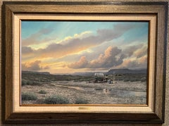"""""""EVENING OUT WEST""""  WESTERN COWBOY RANCH CABIN EVENING CLOUDS COVERED WAGON"""