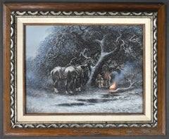 """""""ICE ON THE WIND""""  WESTERN ICE STORM CAMPING SCENE.  COWBOYS CAMPFIRE VINTAGE"""
