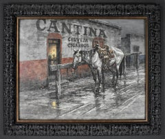 """""""RAIN ON THE SADDLE""""  WESTERN MEXICAN CANTINA W/HORSE NICE VINGATE PIECE"""