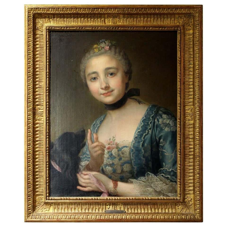 Portrait French Old Master Oil on Canvas Painting Young Lady with a Dog, 1760