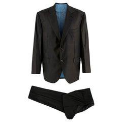 Donato Liguori Bespoke Black Pinstriped Hand Tailored Suit