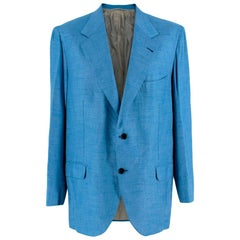 Donato Liguori Blue Cashmere Blend Single Breasted Blazer Jacket - Size XL
