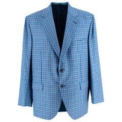 Donato Liguori Blue Checkered Cashmere blend Tailored Blazer - Estimated Size XL