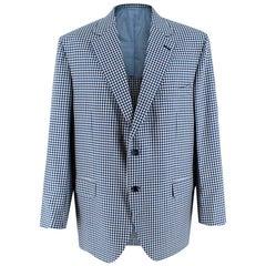 Donato Liguori Blue Checkered Cotton Blend Tailored Blazer Jacket - Size XL
