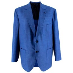 Donato Liguori Blue Cotton Blend Tailored Blazer Jacket - Size XL