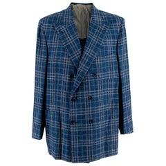 Donato Liguori Blue Cotton & Linen Blend Tailored Blazer Jacket - Size XL