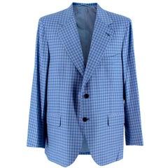 Donato Liguori Blue Gingham Wool blend Tailored Jacket - Size Estimated XL