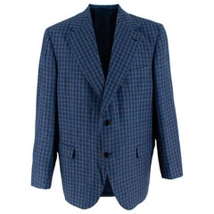 Donato Liguori Blue & Grey Tailored Blazer Jacket - Size Estimated XL