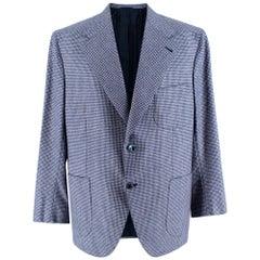 Donato Liguori Blue Pied de Poule Cashmere Blend Tailored Blazer Jacket Size XL