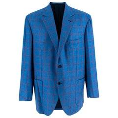 Donato Liguori Blue & Red Cashmere Blend Checkered Tailored Jacket - Size XL