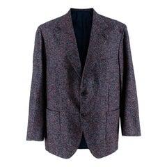 Donato Liguori Blue & Red Mohair Blend Hand Tailored Blazer Jacket - Size XL