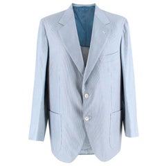 Donato Liguori Blue Striped Cotton Tailored Single Breasted Jacket - Size XL
