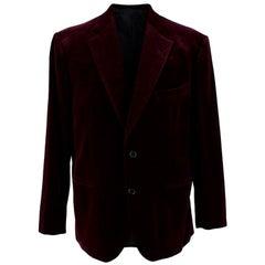 Donato Liguori Burgundy Hand Tailored Velvet Cotton Blazer - Size XL