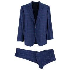 Donato Liguori Check Blue 2-Piece Single Breasted Hand Tailored Suit