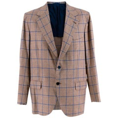 Donato Liguori Checkered Bespoke Tailored Single Breasted Blazer - Size XL