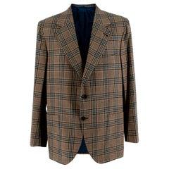 Donato Liguori Cream Checkered Cashmere Blend Tailored Jacket - Size XL